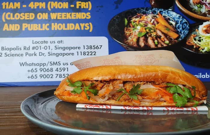 Bread roll filled with crab at Fat Singapore Boy Vietnamese restaurant, Singapore