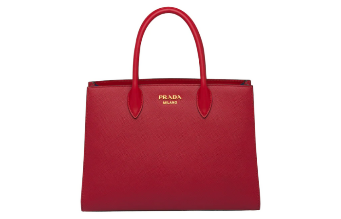 (featured image: Prada Large Saffiano Leather Handbag in Fiery Red)