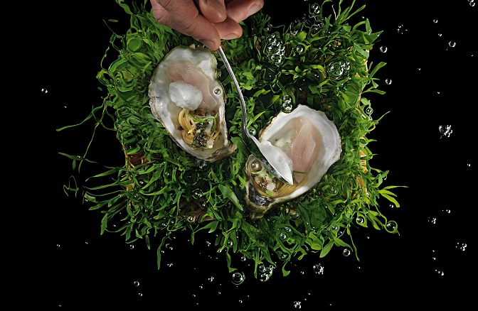 """<p>La Calandre's signature dish, <em>Apparenza</em>, """"cold-cooked"""" dentex served in two oyster shell halves.</p>"""