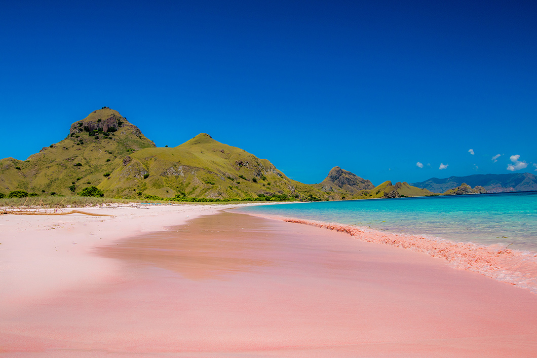 Though Komodo Island is famed for its gargantuan reptiles, the island is also known for Pink Beach, one of a select few pink beaches around the world.