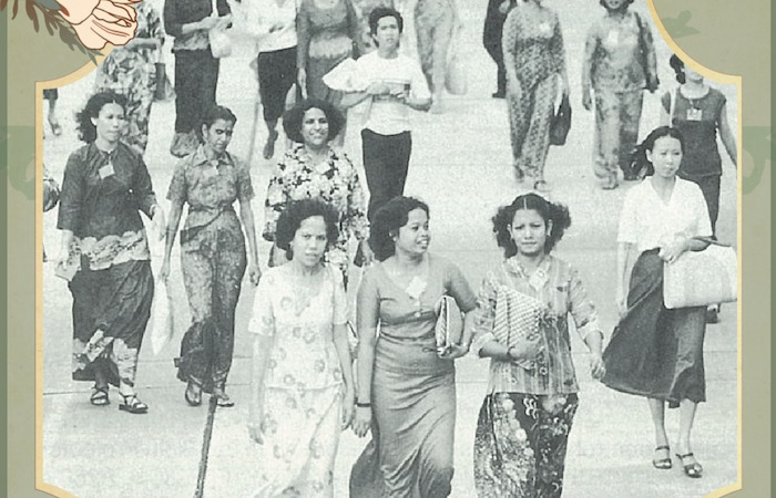 Vintage photo of Singapore women wearing fashions from the 1940s, from the exhibition Modern Women of the Republlic: Fashion and Change in China and Singapore