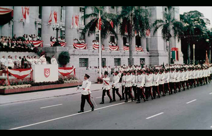 Historic picture of Singapore troops marching around the Padang, to celebrate Singapore National Day Parade 2021