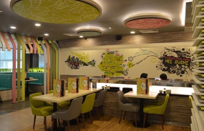 Halal Japanese food in Singapore  - Hei Sushi has a conveyer belt of sushi