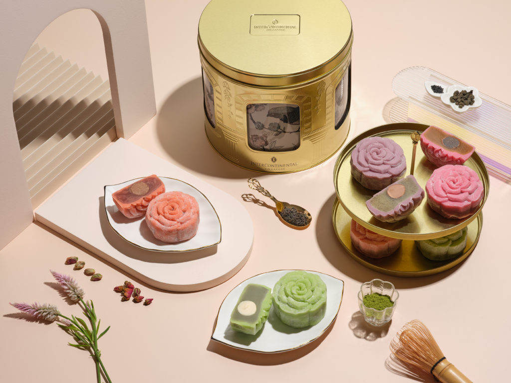 Line of mooncakes from InterContinental Singapore.