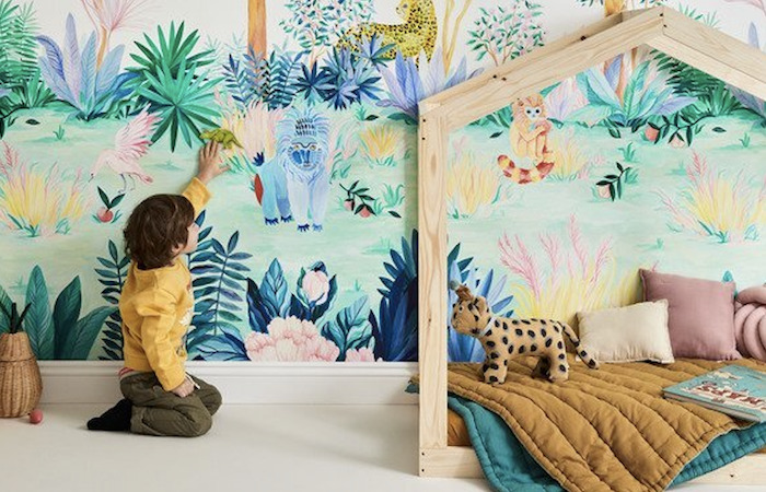 Large magnetic wallpeper jungle mural at Children's furniture store Decordinary, in SIngapore