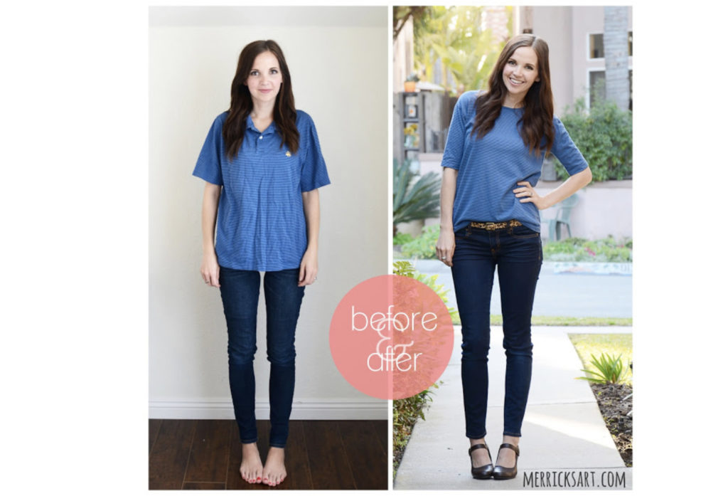 Turn your old polo into a fashionable boat neck top.