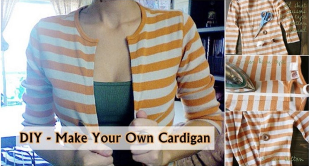 Transform your old T-shirt into a new cardigan.