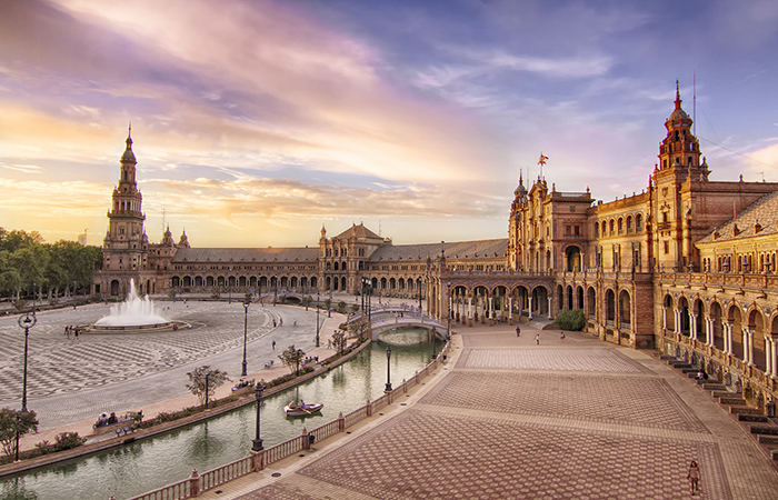 romantic cities in Europe -  Seville in Spain.
