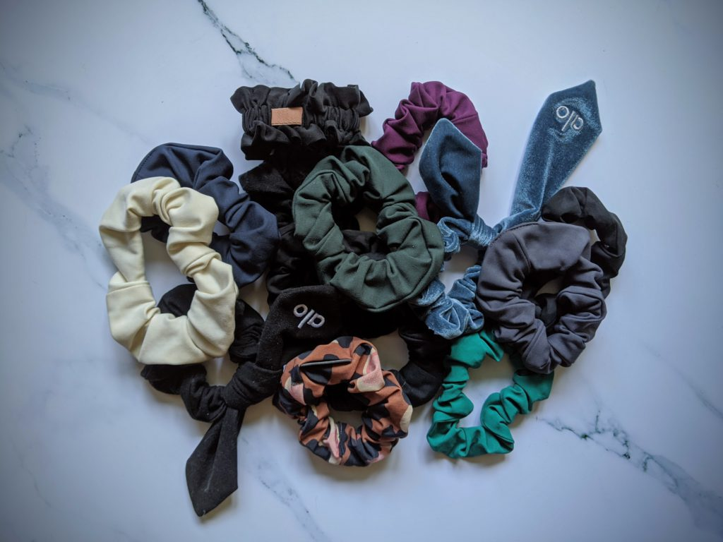 Pile of scrunchies made from scrap materials