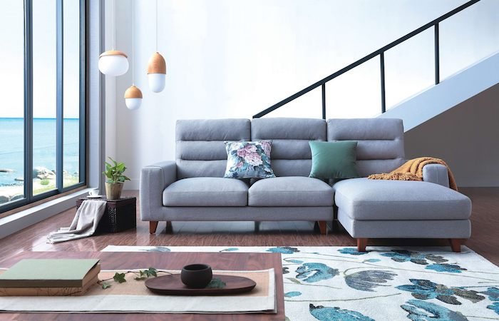 best sofas in singapore - Black & Walnut 3 seater sectional in grey