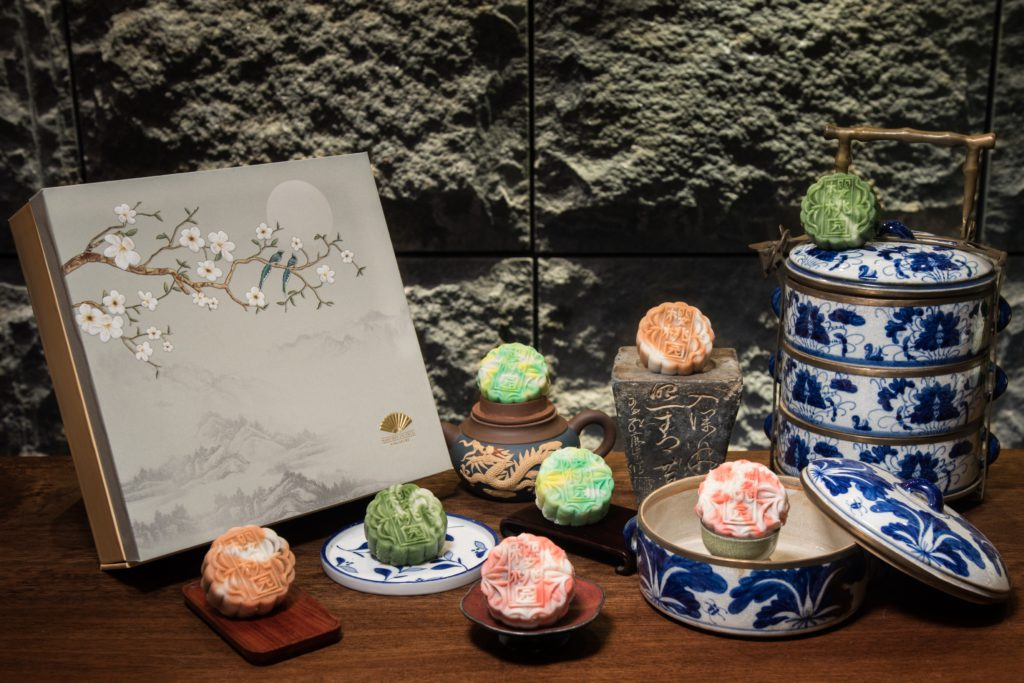 Collection of mooncakes from Mandarin Oriental Singapore.