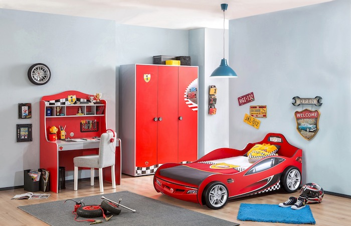 kids bedroom ideas and children's furniture like a racecar toddler bed, at Kidshaven, Singapore