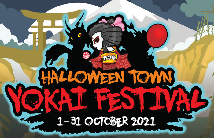halloween town yokai festival event poster happening at downtown east